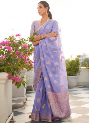 Blue Festival Linen Traditional Saree