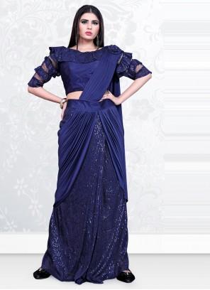 Blue Festival Lycra Designer Saree