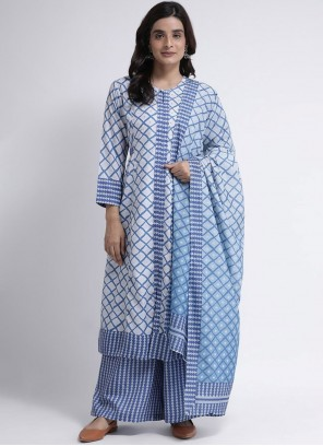 Blue Festival Rayon Readymade Suit
