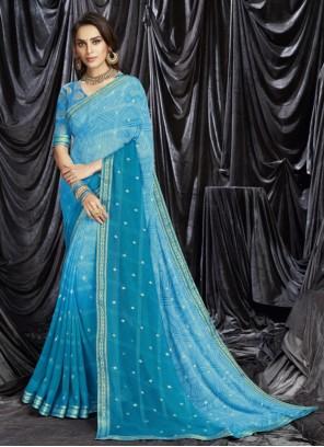 Blue Festival Shaded Saree