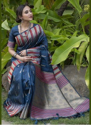 Blue Fancy Work Festival Traditional Saree