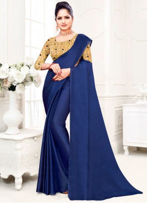 Blue Festival Fancy Fabric Trendy Saree