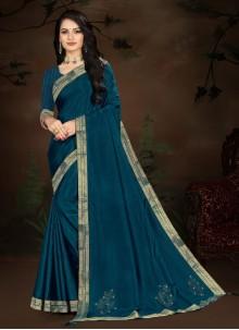 Blue Festival Vichitra Silk Designer Traditional Saree