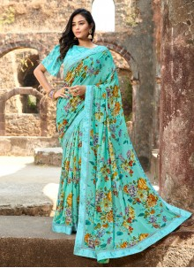 Blue Floral Print Silk Saree