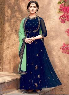 Blue Georgette Ceremonial Salwar Suit