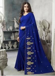 Blue Georgette Classic Designer Saree
