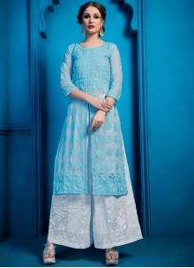 Blue Georgette Designer Palazzo Salwar Kameez