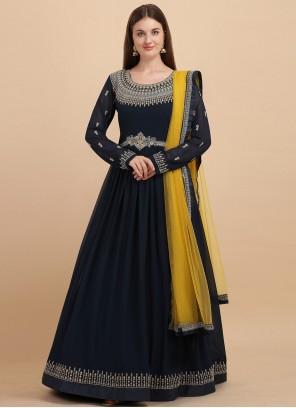 Blue Georgette Embroidered Anarkali Salwar Suit