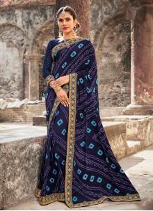 Blue Georgette Mehndi Contemporary Saree