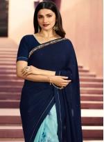 Blue Georgette Printed Classic Saree