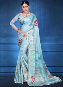 Blue Georgette Satin Printed Saree