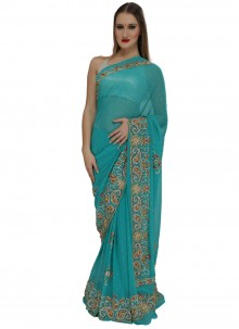 Blue Georgette Traditional  Saree