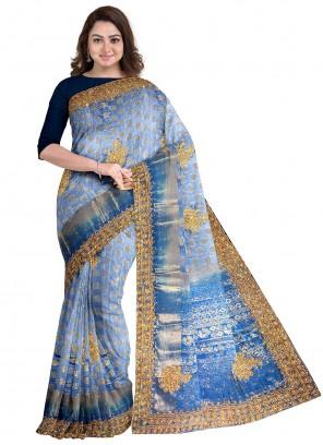 Blue Handwork Designer Saree