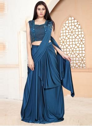 Blue Handwork Festival Classic Designer Saree