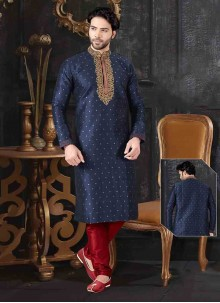 Blue Jacquard Mehndi Kurta Pyjama