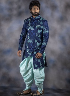 Blue Jacquard Reception Indo Western