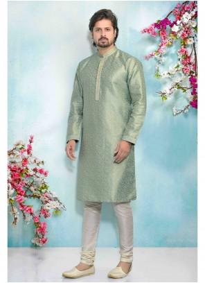 Green Jacquard Silk Ceremonial Kurta Pyjama