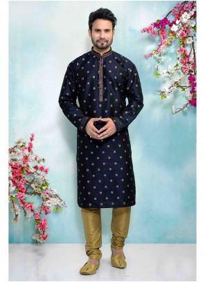 Blue Jacquard Silk Embroidered Kurta Pyjama