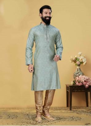 Pista Green Jacquard Silk Engagement Kurta Pyjama