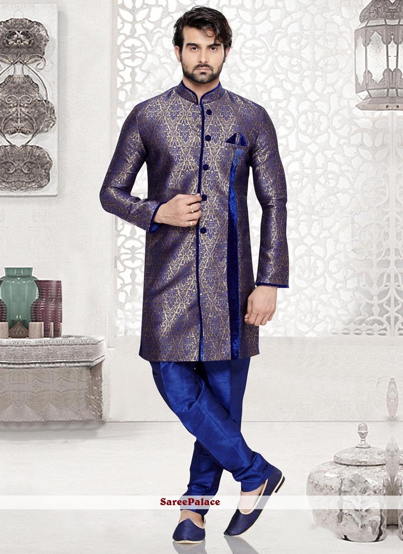 Blue Jacquard Silk Kurta Pyjama