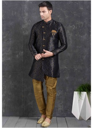Blue Jacquard Silk Print Indo Western