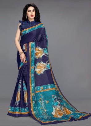 Blue Cotton Silk Printed Saree
