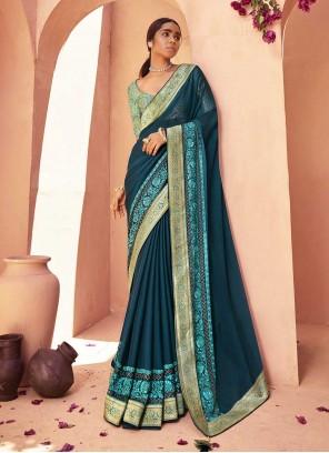 Blue Lace Faux Chiffon Classic Designer Saree