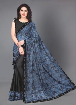 Blue Lace Lycra Casual Saree