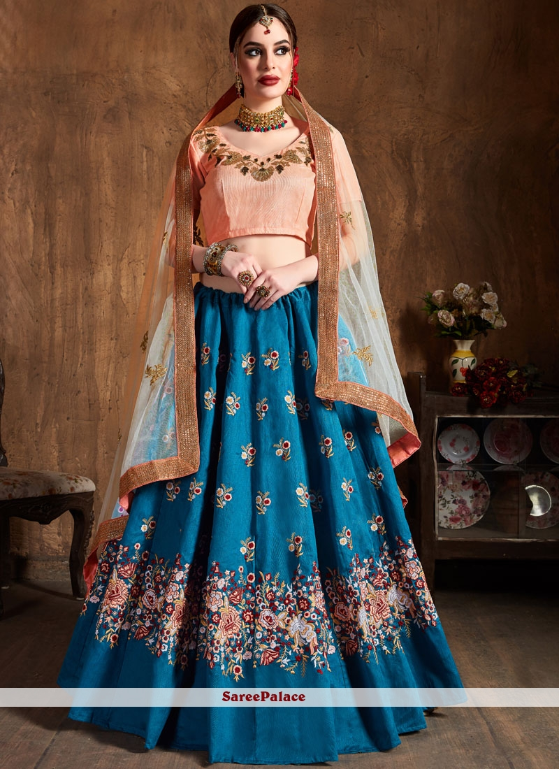 Blue Lace Raw Silk Lehenga Choli