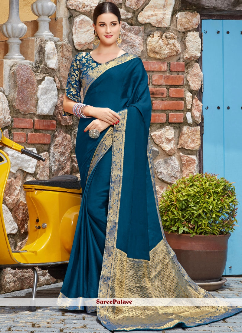 Blue Lace Sangeet Trendy Saree