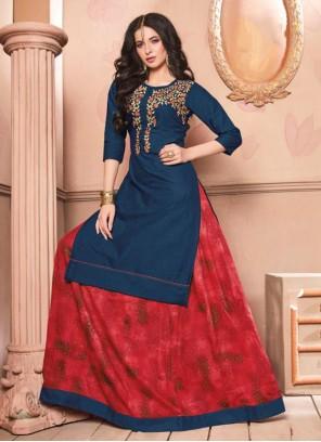 Blue Embroidered Cotton Lehenga Choli
