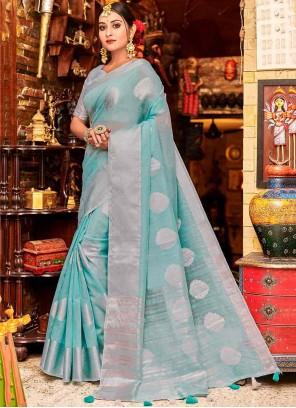 Blue Linen Fancy Classic Designer Saree