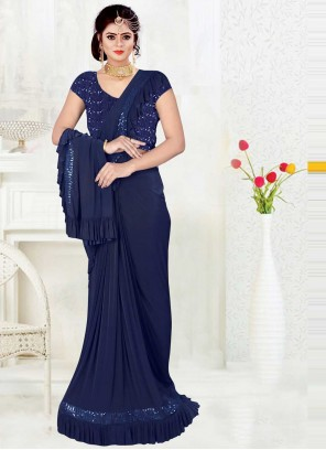 Blue Lycra Sequins Trendy Saree