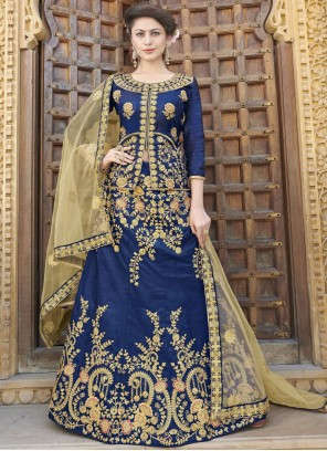 Blue Mehndi Art Silk Trendy Lehenga Choli