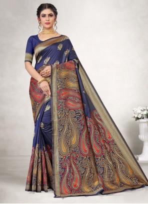 Blue Mehndi Classic Saree