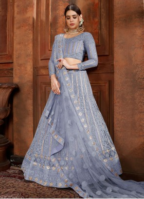 Blue Mehndi Designer Lehenga Choli