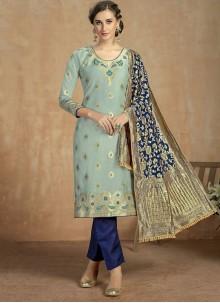 Blue Mehndi Jacquard Salwar Suit