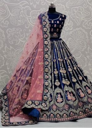 Blue Embroidered Patch Border Mehndi Lehenga Choli