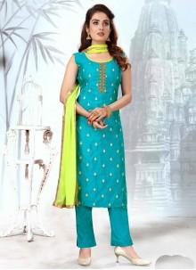 Blue Mehndi Readymade Suit