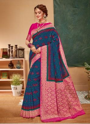 Blue Mehndi Saree