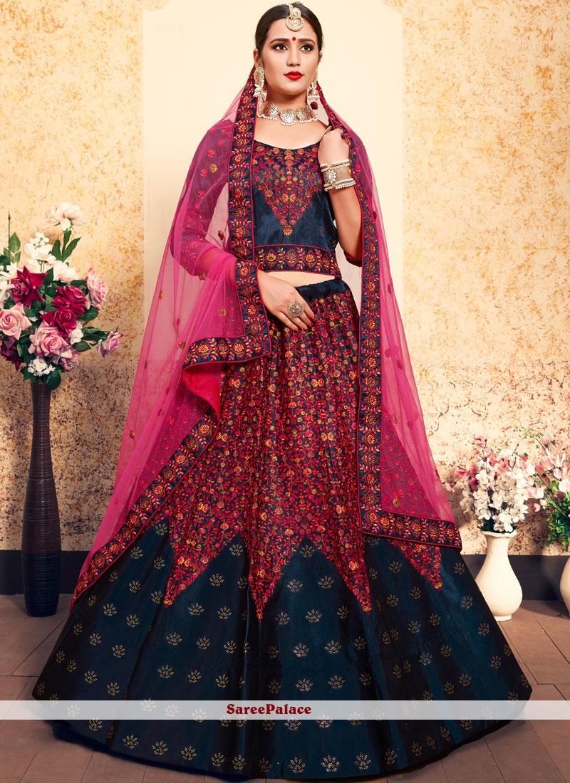 b1dfec338 Buy Blue Mehndi Satin Designer Lehenga Choli Online