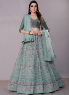 Blue Net Bridal Lehenga Choli