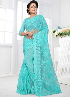 Blue Net Classic Designer Saree