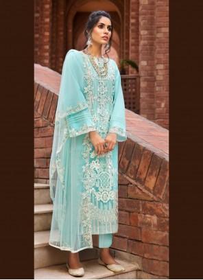 Blue Net Designer Pakistani Suit