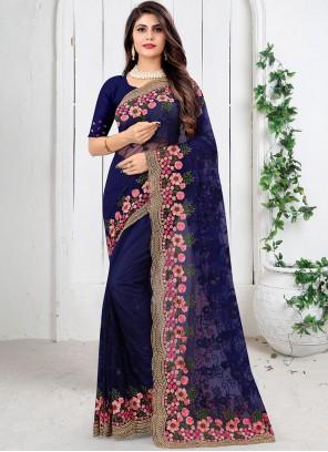 Blue Net Designer Saree
