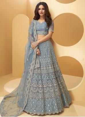 Blue Embroidered Net Lehenga Choli