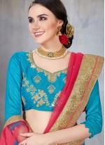 Blue Net Mehndi Designer Lehenga Choli