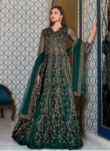 Blue Net Mehndi Long Choli Lehenga
