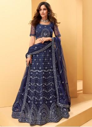 Blue Embroidered Net Party Lehenga Choli