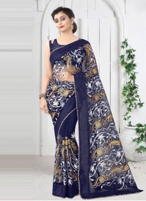 Blue Net Printed Saree